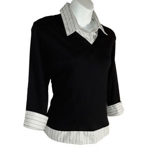 Black with Stripes Layered Look Collar Top